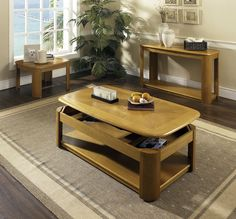 Lift-Top Oak Coffee Table with Casters