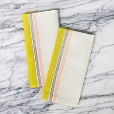 yellow and peach striped napkins