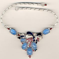 'Alfred Philippe' US Patriotic Star Sapphire and Enamel Bow Necklace. 1938-1942.