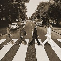 Beatles - Abbey Road Sepia - Tavlor på canvas - Photowall