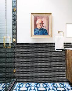 Penny round tiles, feature tiles, black tiles | Bathroom | Pinterest on