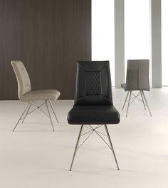 lot de 2 chaises capitonnées design noires, grises ou crème