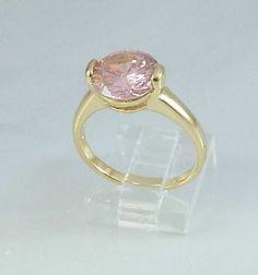 Ladies Pink Topaz CZ 18K Yellow Gold Overlay Ring~Sz 5 1/2-Free Gift Box