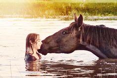 Girl Horse Love Happiness Joy Summer Water -12x18 Photograph- Home Decor  Fine Art Print