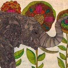 Intricate Elephant in Flower Garden