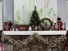 Bring charm and character to your mantel with a mix of Americana elements. Stick with a range of antiques with aged finishes and a layer of bright and dull reds for a classic look.