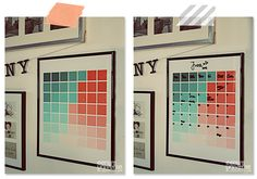 DIY mint and coral ombre Paint Chip calendar