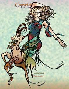 SciFi and Fantasy Art Astrology Collection 1:Zodiac sign of Capricorn by Parisa Shariatpanahi