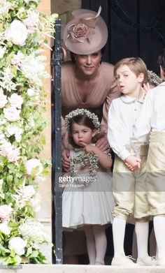 Princess Charlotte of Cambridge, bridesmaid and Catherine, Duchess of Cambridge arrive for the wedding Of Pippa Middleton and James Matthews at St Mark's Church on May 20, 2017 in Englefield Green, England.
