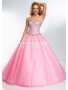2014 Cute sweetheart neck beading ball gown pink puffy