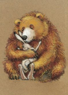 Bear and Bunny by Eva Muszynski Bunny Art, Love Bear, Bear Art, Children's Book Illustration, Book Illustrations, Whimsical Art, Cute Art, Painting & Drawing, Illustrators