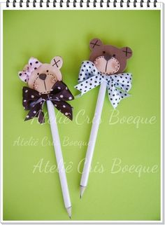 Kids Crafts, Foam Crafts, Diy And Crafts, Craft Projects, Projects To Try, Arts And Crafts, Clay Pen, Pen Toppers, Bear Party