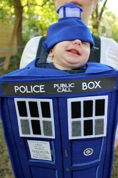 Another shot of my cute little guy in his TARDIS costume! It's going to be a fun Halloween!   Doctor Who TARDIS Baby Costume PDF Pattern  $9 via BabyNomNom on Etsy