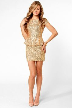 Champagne Dame Brilliant Gold Sequin Dress