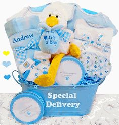 """""""Special Delivery"""" Baby Boy Gift Basket http://www.storkbabygiftbaskets.com/baby-boy-gifts-personalized.html  $99.95"""