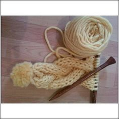 Super easy scarf - made with a bulky yarn on large needles for a cute, long, skinny scarf