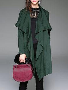 Shop Coats - Army Green Long Sleeve Plain Linen Shift Coat online. Discover unique designers fashion at StyleWe.com.