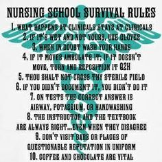 Nursing School Survival Rules... Well maybe not so much 10...