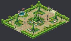 Gardenscapes: New Acres - Artdump, Ilia Shigin Hayday Farm Design, Cartoon Building, Fountain Square, Mobile Project, Hay Day, Garden Design Plans, New Animal Crossing, Concept Architecture, Cute Drawings