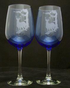Cobalt Blue Elk Etched Wine Glasses. $24.95, via Etsy.