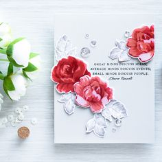 """Hello, everyone! Yana is here sharing a closer look at gorgeous """"Sentiments – Beautiful Quotes"""" stamp set. One can never have enough sentiments for cards so this is a great set to… Great Minds Discuss Ideas, Small Minds Discuss People, Flower Stamp, Flower Cards, Different Writing Styles, Vintage Rosen, Altenew Cards, Clear Stamps, Vintage Flowers"""
