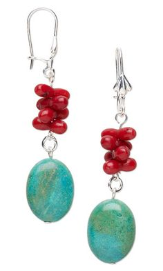 Earrings Handmade Jewelry Design - Earrings with Turquoise Gemstone Beads and Coral Beads - Fire Mountain Gems and Beads Jewelry Design Earrings, Coral Jewelry, Gemstone Earrings, Beaded Earrings, Earrings Handmade, Jewellery, Homemade Jewelry, Bijoux Diy, Beads And Wire