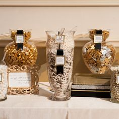 Gold, Silver and White Candy Buffet  photo by: Jenny DeMarco Photography