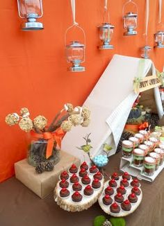 camp themed party ideas- lot of pics of food, decos