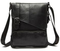 2f6b623617b9 Men Black Natural Leather Shoulder Bag with a Belt Buckle Flap Closure  Design #leathersidebagsformens