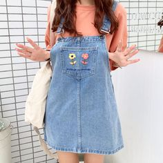 Shop the latest products on Storenvy, home of the world's independent small businesses. Korean Outfits, Retro Outfits, Vintage Outfits, Casual Outfits, Cute Outfits, Fashion Outfits, Dungarees Outfits, Denim Dungarees, Denim Dungaree Dress Outfit
