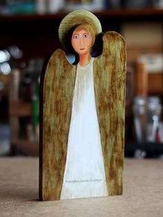White angel with golden wings painted on old wood Wooden Angel, Golden Wings, White Angel, Old Wood, Angels, Painting, Art, Painting Art, Paintings