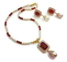 Ruby ad #pendent #jewellery set buy online with #craftshopsindia