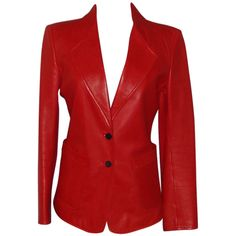 Pre-owned YSL Red Leather Blazer (€1.065) ❤ liked on Polyvore featuring outerwear, jackets, blazers, genuine leather jacket, leather blazer, red leather jacket, red blazer and yves saint laurent