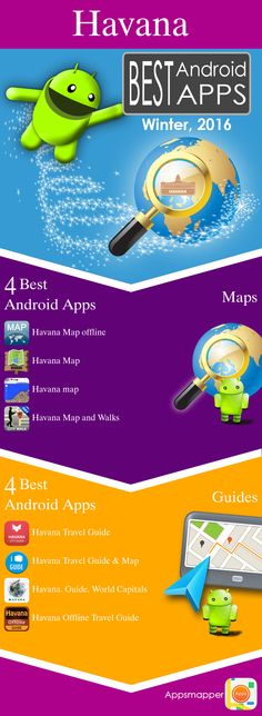 Havana Android apps: Travel Guides, Maps, Transportation, Biking, Museums, Parking, Sport and apps for Students.