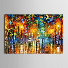 Oil Paintings Modern Landscape Rainy Street Hand-painted Canvas Ready to Hang - USD $ 48.99