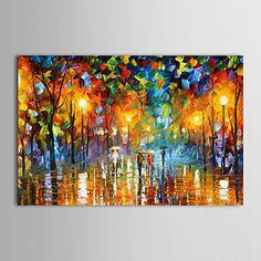 pinturas al óleo del paisaje moderno de la calle de lluvias lienzo pintados a mano listo para colgar – USD $ 69.99