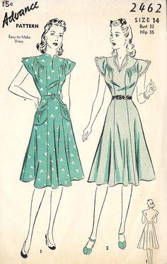 Misses Easy to Make Dress Vintage Sewing pattern Old Dresses, 1940s Dresses, Vintage Dresses, Sleeve Dresses, Vintage Dress Patterns, Clothing Patterns, 1940s Fashion, Vintage Fashion, Retro Outfits
