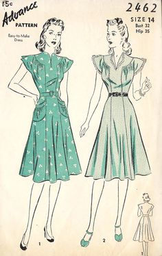 1940s Misses Easy to Make Dress Vintage Sewing by MissBettysAttic, $26.00