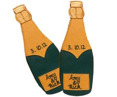 Eleni's customized champagne cookies are iced with the couples name and date of the wedding, a delicious engagement party favor or edible Save the Date.