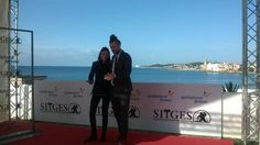 "Actress Àstrid Bergès-Frisbey and director Mike Cahill attending the Sitges Film Festival to promote their film ""I Origins"" (2014)"