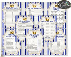 Royal Baby Shower boy games little prince package bundle printable with royal blue and gold theme, 8 games pack - Instant Download - rp001