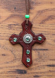 Leather Cross with Emerald Embellishment by KellysLeatherDesign on Etsy Wither Strap, Leather Design, Basket Weaving, Belly Button Rings, Embellishments, Emerald, Handmade Items, My Etsy Shop, Turquoise