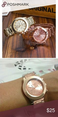 Analog Quartz Rose Gold Stainless Steel Fashion Women Analog Quartz Rose Gold Stainless Steel Geneva Dress Wrist Watch Band length 22cm Dial diameter glass Band width 18 mm Accessories Watches