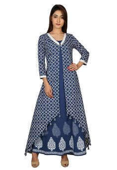 0720fb150bfb9a Cotton Kurta in Navy Blue This Readymade attire with Cotton Lining is  Enhanced with Block Print