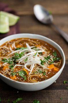 Naturally Ella | Sweet Potato Sriracha Noodle Soup