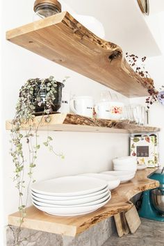 Gorgeous Live Edge Wood Shelving H O M ED E C R
