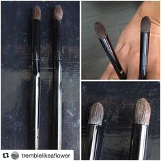 #Repost @tremblelikeaflower with @repostapp  Also looking at #Kyureido eye brush vs #Suqqu eyeshadow M. Again ferrule handle and hair shape is nearly identical; only the Suqqu looks a touch fuller in the middle. I also looked at it with the Suqqu S but that is a significantly smaller profile #japanesebeauty #brushes #fude
