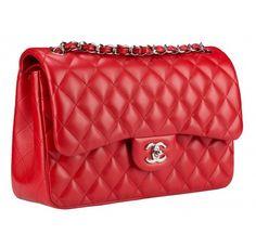 5c8d5c42797 Chanel Sale Classic Double Flap Lambskin Red Leather Shoulder Bag 55% off  retail