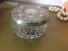 Vintage Glass Vanity jar with Silver plate lid, jewelry holder, bobby pins, office supplies holder, holds business cards, on Etsy, $14.00 Glass Dresser, Glass Vanity, Bobby Pin Holder, Wholesale Office Supplies, Nail Supply, Vintage Vanity, Jewelry Holder, Paper Clip, Decorative Items