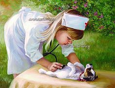 "Vintage Art ""Nurse and Patient"" - Little Girl Nurse Cares for Dog - Restored Vintage Art, 1950s Print Restored #38"